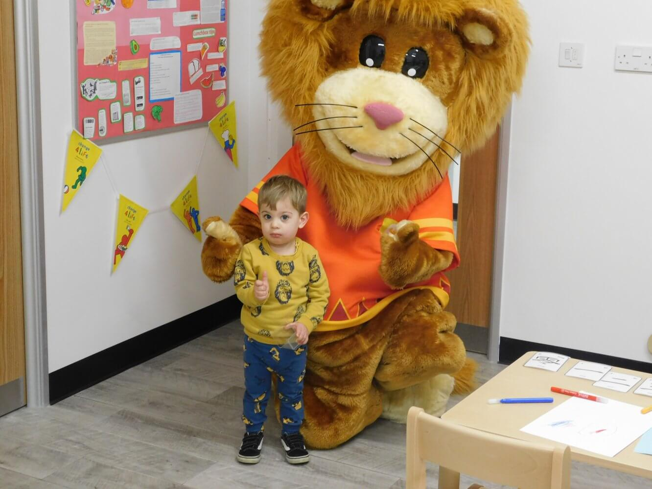 Lenny the Mascot with Child